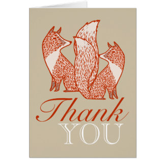 Rust Red and Ivory Foxes Thank You Greeting Card
