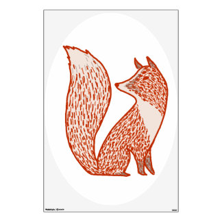 Rust Red and Ivory Foxes Wall Sticker