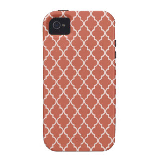 Rust Red And White Moroccan Trellis Pattern Vibe iPhone 4 Cases