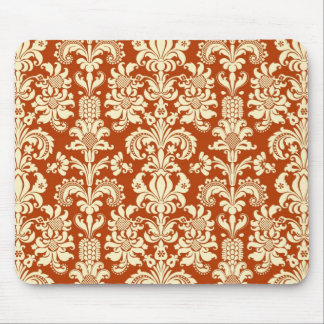 Rust-Red & Beige Floral Damask Pattern Mouse Pad