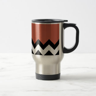 Rust Red. Brick Pattern On Large Zigzag Chevron 15 Oz Stainless Steel Travel Mug