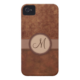 Rust Red Coin Pattern with Monogram iPhone 4 Cover