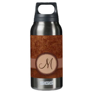 Rust Red Coin Pattern with Monogram Insulated Water Bottle