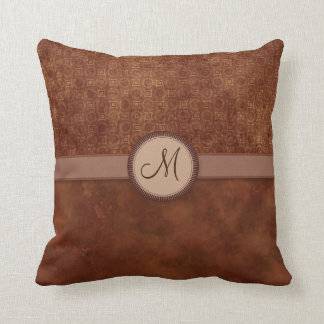 Rust Red Coin Pattern with Monogram Pillows