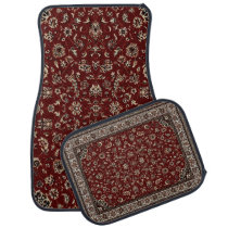 Rust Red Oriental Rug Look Car Mat Set