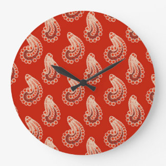 Rust red, white and gray paisley large clock