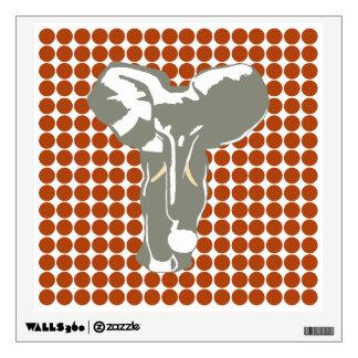 Rust Safari Dot with Pop Art Elephant Wall Sticker