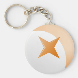 Rust Star Basic Round Button Keychain
