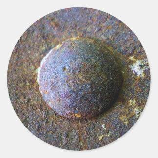 Rust Steel Rivet Industrial Distressed Round Sticker
