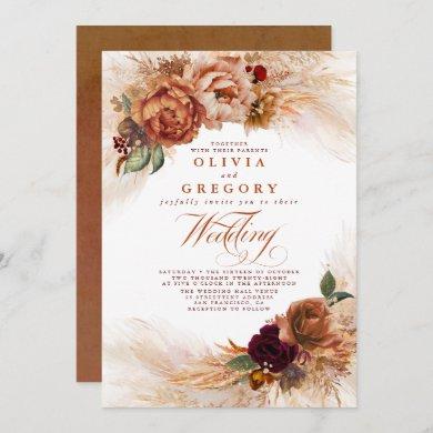 Rust Terracotta Flowers and Pampas Grass Wedding Invitation