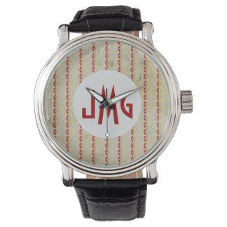 Rust White Bohemiam Stripe Monogram Watch