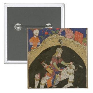 Rustam mata el Div blanco de Mazandaran, illustra Pin Cuadrada 5 Cm