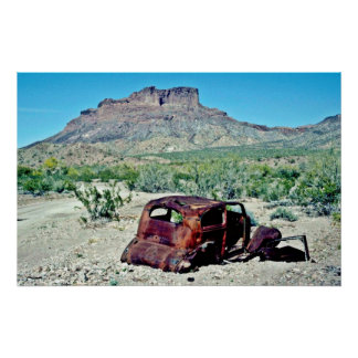 Rusted Antique Car In Front Of Butte Print