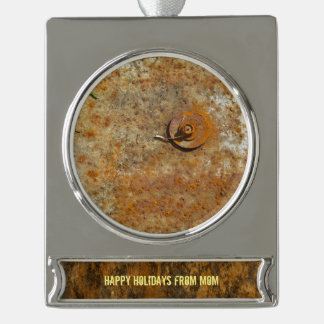 Rusted Art Silver Plated Banner Ornament