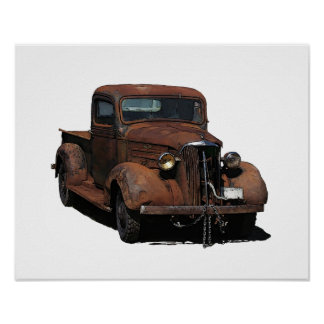 Rusted barn-find 1937 Chevy pickup Poster