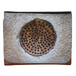 Rusted bizarre metal round thing with holes leather trifold wallet