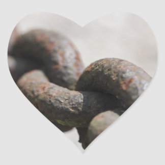 Rusted chain with big links heart sticker
