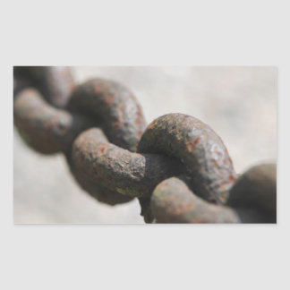 Rusted chain with big links rectangular sticker