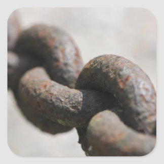 Rusted chain with big links square sticker
