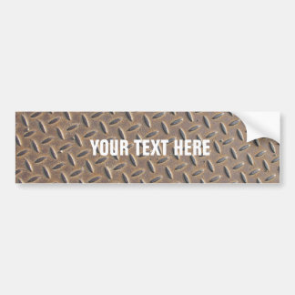 Rusted checker plate made from steel or metal bumper sticker