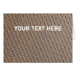 Rusted checker plate made from steel or metal card