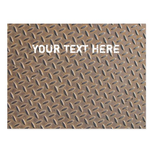 Rusted checker plate made from steel or metal postcard