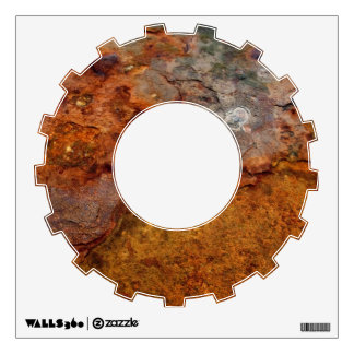 Rusted cog wall decal