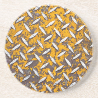 Rusted Diamond Plate Metal Coasters