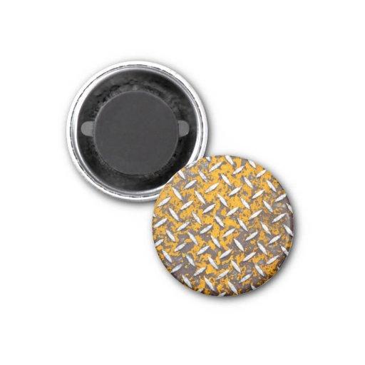 Rusted Diamond Plate Metal Refrigerator Magnet