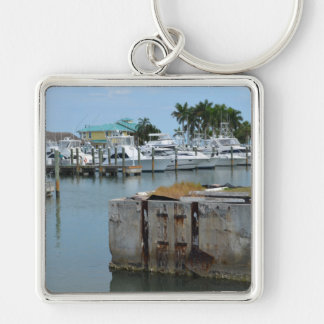 rusted dock ft pierce florida marina Silver-Colored square keychain