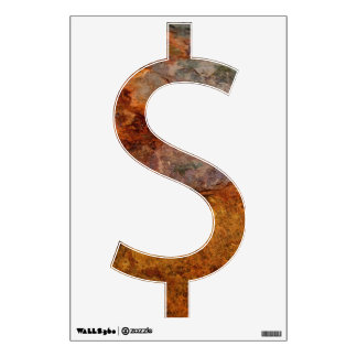 Rusted dollar sign wall decal