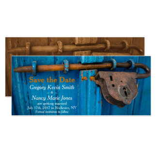 Rusted Door Lock Blue and Rust Save the Date Card