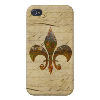 Rusted Fleur De Lis on Faded Antique Parchment Case For iPhone 4