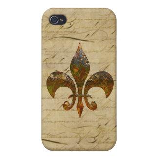 Rusted Fleur De Lis on Faded Antique Parchment iPhone 4/4S Cover