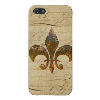 Rusted Fleur De Lis on Faded Antique Parchment iPhone 5 Case