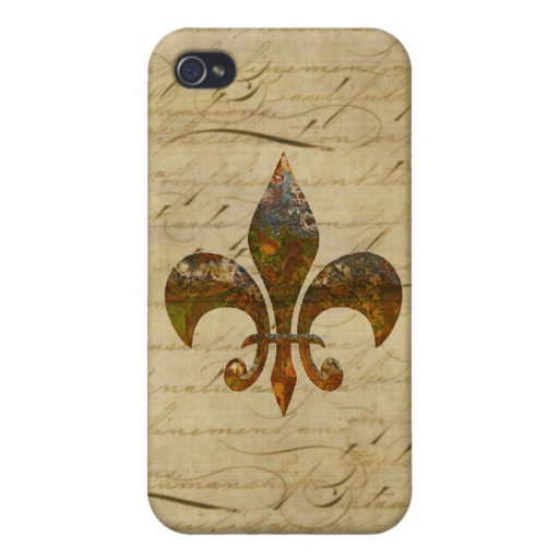 Rusted Fleur De Lis on Faded Antique Parchment iPhone 4/4S Cover