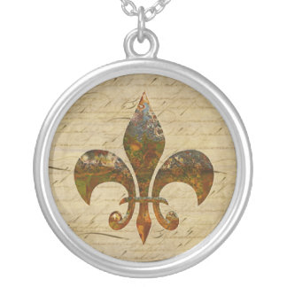 Rusted Fleur De Lis on Faded Antique Parchment Jewelry