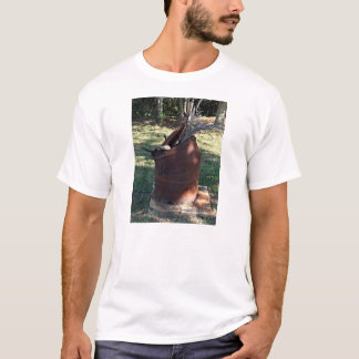 Rusted garbage can in grassy landscape T-Shirt