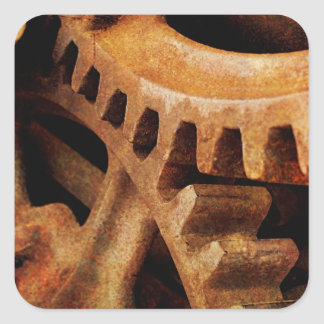 Rusted Gears Square Sticker