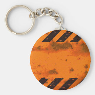 Rusted Hazard Stripes Background Basic Round Button Keychain