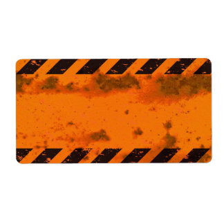 Rusted Hazard Stripes Background Label