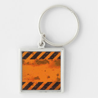 Rusted Hazard Stripes Background Silver-Colored Square Keychain
