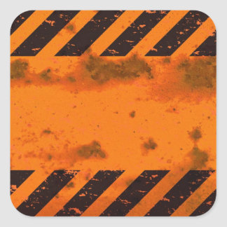 Rusted Hazard Stripes Background Square Stickers