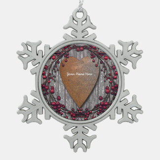 Rusted Heart With Berries Snowflake Pewter Christmas Ornament