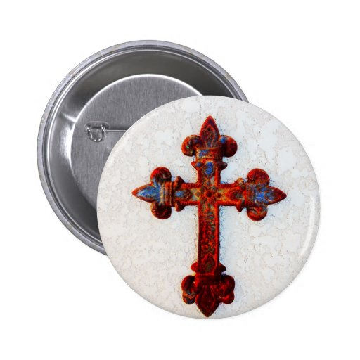 Rusted Iron Cross Christian Gifts Button
