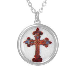Rusted Iron Cross Christian Gifts Round Pendant Necklace