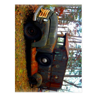 Rusted Junkyard Old Armored Truck Postcard