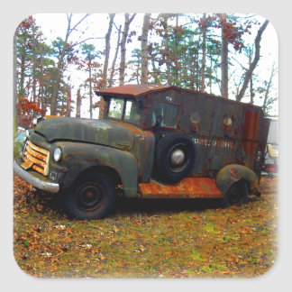 Rusted Junkyard Old Armored Truck Square Sticker