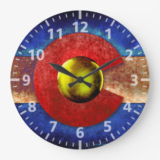 Rusted Metal Colorado Flag Large Clock