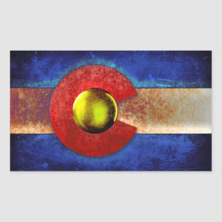 Rusted Metal Colorado Flag Rectangular Stickers